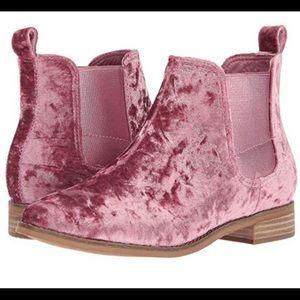 Toms Pink velvet booties size 5.5